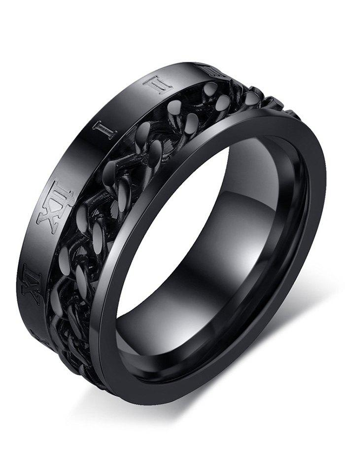 Metal Roman Numerals Chain Round Finger Ring - BLACK