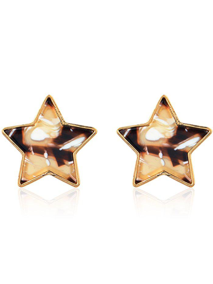Simple Metal Resin Star Tiny Stud Earrings - multicolor E