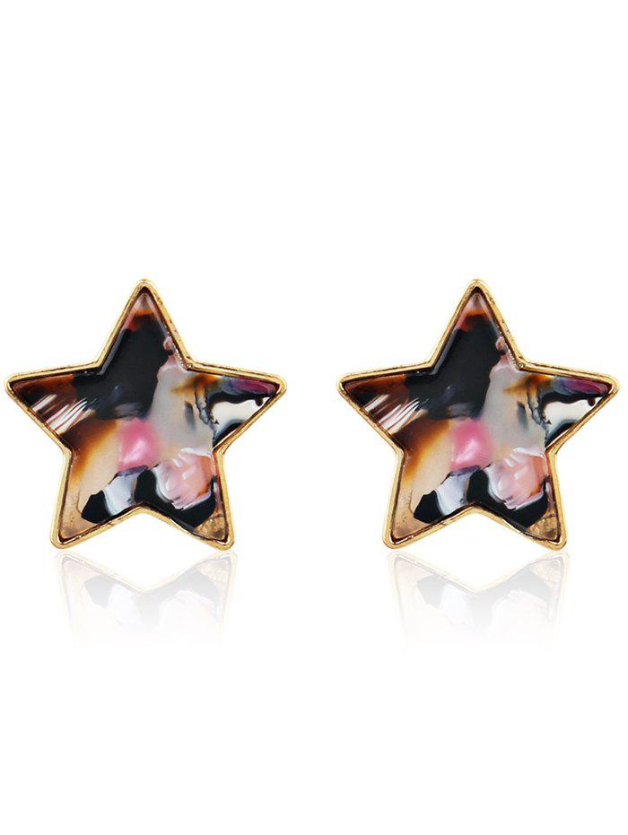 Simple Metal Resin Star Tiny Stud Earrings - multicolor C