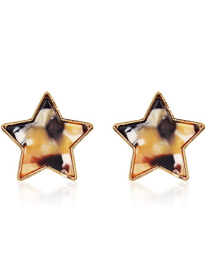 Simple Metal Resin Star Tiny Stud Earrings - multicolor D