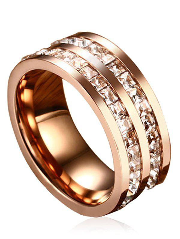 Rhinestone Embellished Alloy Band Ring - ROSE GOLD 6