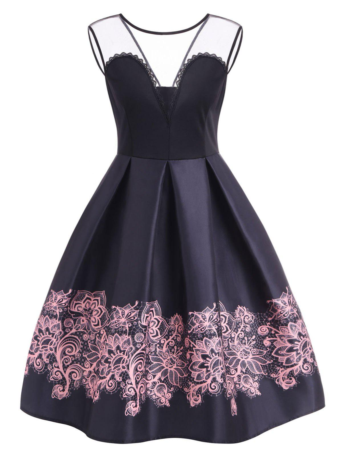A Line High Waisted Vintage Dress - BLACK M