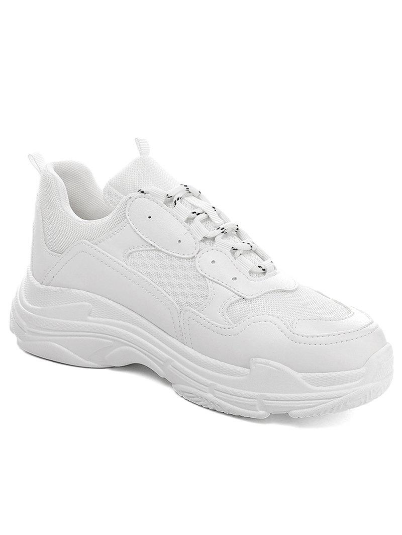 Lanbaoli Breathable Mesh Lace Up Sport Shoes - WHITE 37