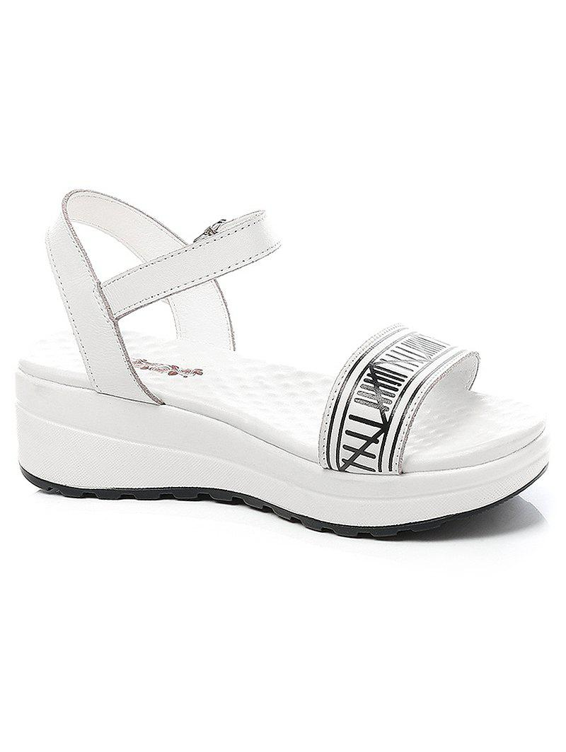 Lanbaoli Ankle Wrap Platform Striped Sandals - WHITE 38