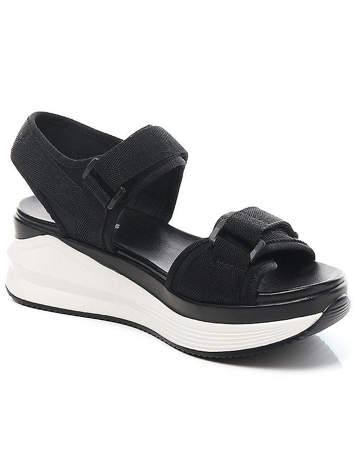 Lanbaoli Ankle Wrap Platform Leisure Sandals - BLACK 37