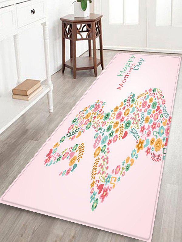 Mother's Day Flowerd Art Design Flannel Floor Area Rug - PINK W16 INCH * L47 INCH