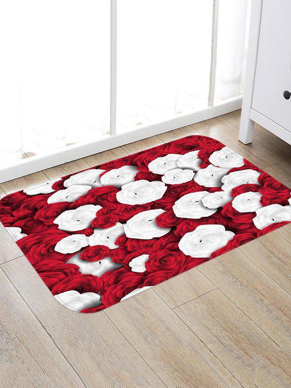 Red and White Roses Pattern Anti-skid Water Absorption Rug - multicolor W16 INCH * L24 INCH