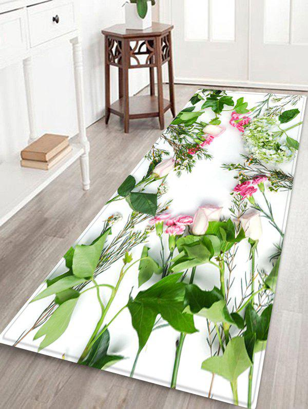 Flower Pattern Anti-skid Water Absorption Area Rug - GREEN APPLE W16 INCH * L47 INCH