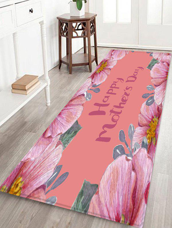 Mother's Day Floral Pattern Flannel Floor Area Rug - PINK W24 INCH * L71 INCH