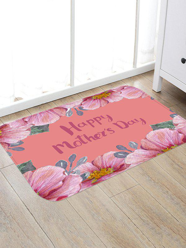 Mother's Day Floral Pattern Flannel Floor Area Rug - PINK W16 INCH * L24 INCH