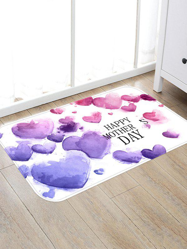 Hearts Shaped Mother's Day Print Floor Rug - PURPLE W16 INCH * L24 INCH