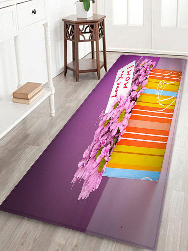 Mother's Day Gift Flowers Box Print Antislip Floor Rug - multicolor W24 INCH * L71 INCH