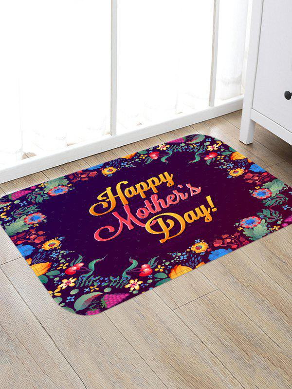 Happy Mother's Day Flowers Print Nonslip Floor Rug - multicolor W16 INCH * L24 INCH
