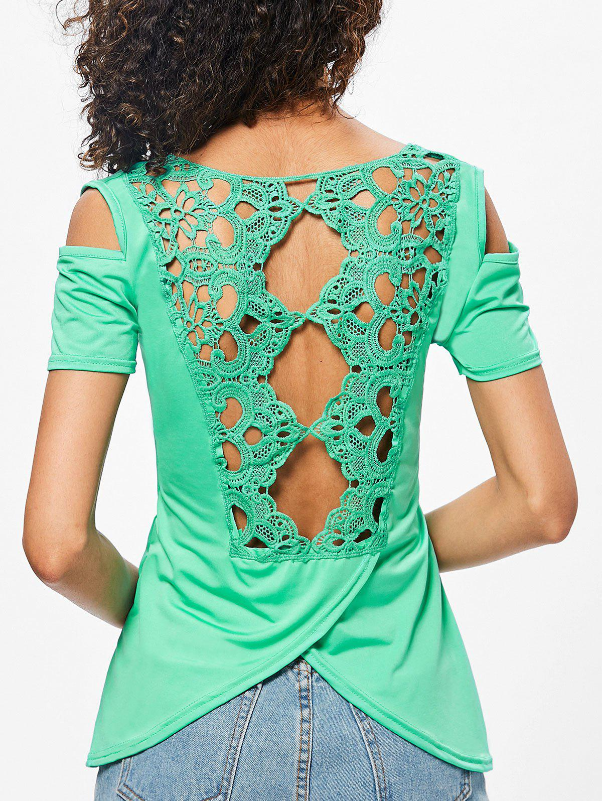 Slit Back Lace Panel T-shirt lace trim back slit t shirt