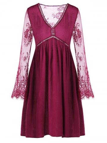 Lace Panel Flare Dress with Sleeves