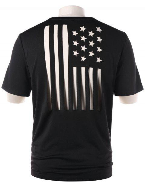 Two Tone American Flag T-shirt - BLACK XL