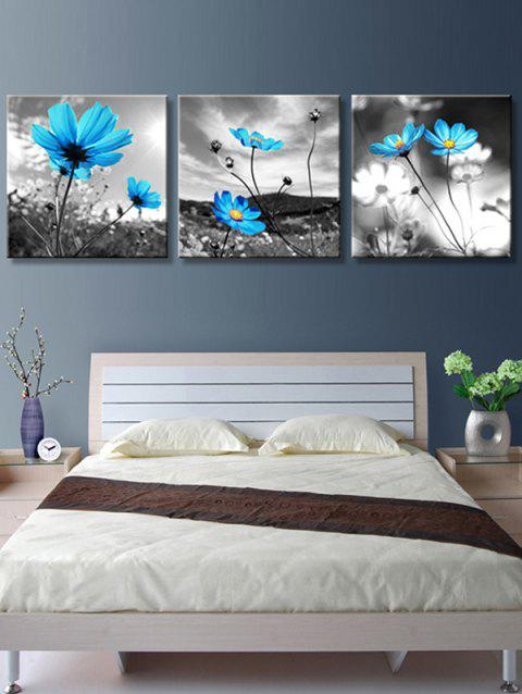 Swaying Wild Flowers Printed Unframed Canvas Paintings - multicolor 3PC:12*12 INCH( NO FRAME )
