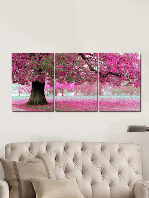 Blooming Flower Tree Printed Canvas Wall Art Paintings - HOT PINK 3PC:12*18 INCH( NO FRAME )