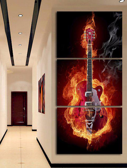 Flame Guitar Printed Wall Art Split Canvas Paintings - multicolor 3PC:12*18 INCH( NO FRAME )