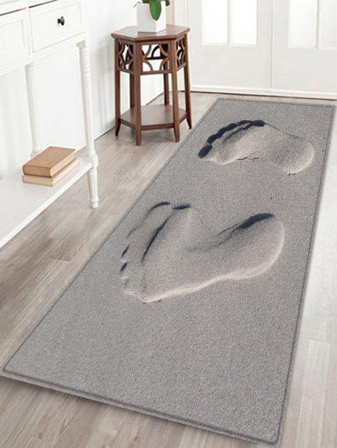 Sandbeach Footprint Pattern Anti-skid Floor Area Rug - DARK GRAY W16 INCH * L47 INCH