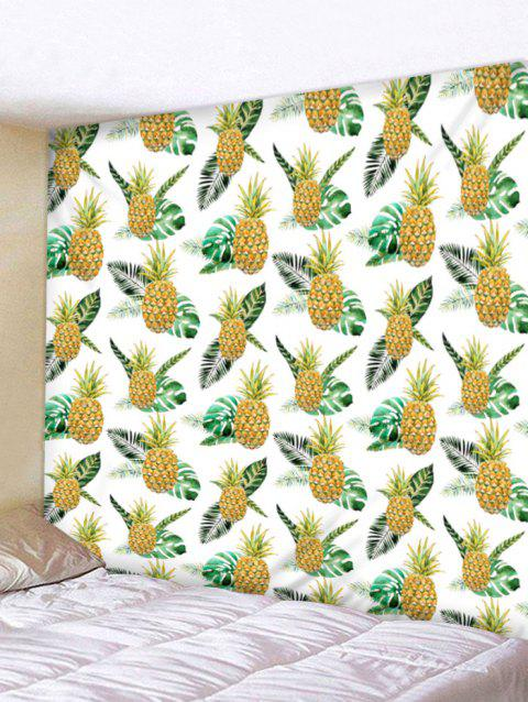 Tropical Pineapple Print Tapestry Wall Art - BRIGHT YELLOW W91 INCH * L71 INCH