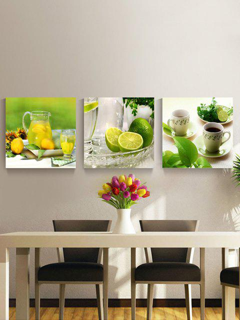 Lemons Printed Wall Decor Split Canvas Paintings - multicolor 3PC:12*12 INCH( NO FRAME )