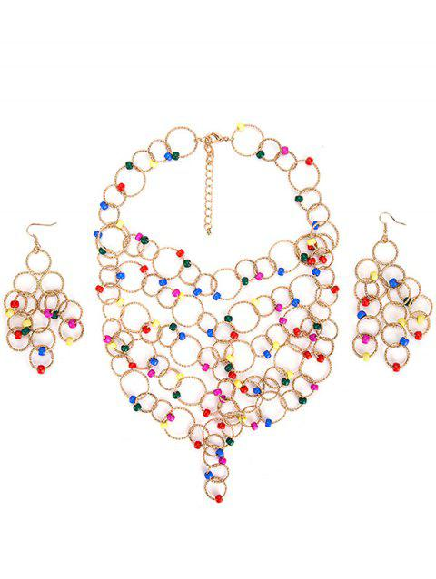 Alloy Circles Beads Necklace and Earring Set - BLUEBERRY BLUE