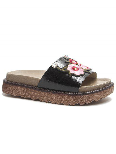 Floral Embroidery Daily Hang Out Slides - BLACK 38
