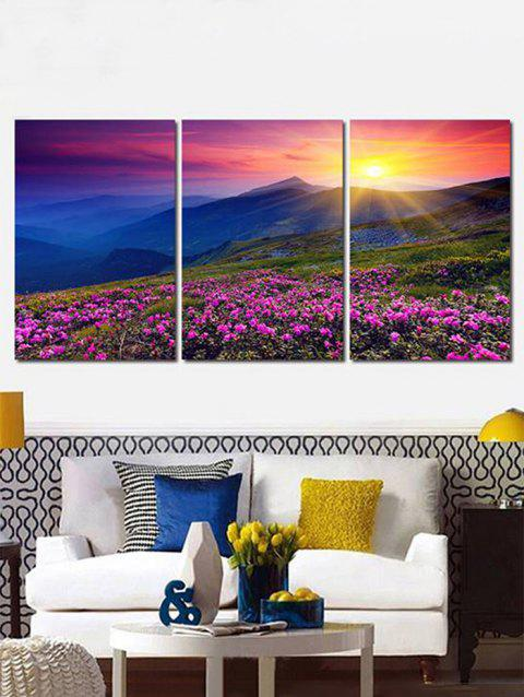 Flowers Mountains in Sunrise Canvas Prints Wall Art Pictures 3Pcs - multicolor 3PC:12*18 INCH( NO FRAME )