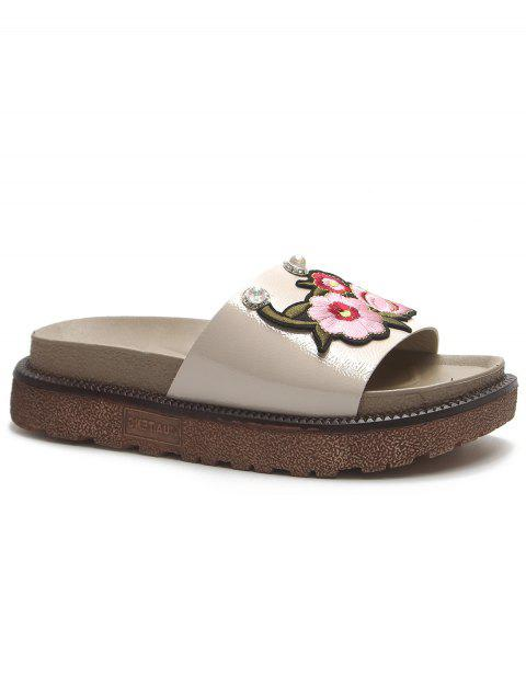 Floral Embroidery Daily Hang Out Slides - BEIGE 40