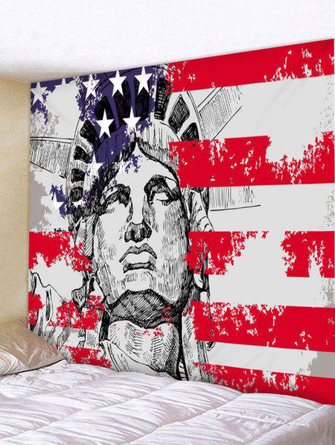 Statue of Liberty American Flag Print Tapestry Wall Art - multicolor W91 INCH * L71 INCH