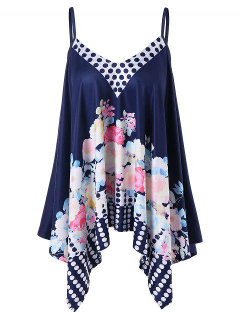 Floral Print Asymmetric Tank Top - NAVY BLUE L
