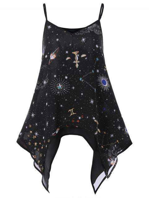 Spaghetti Strap Galaxy Print Handkerchief Tank Top - BLACK 2XL