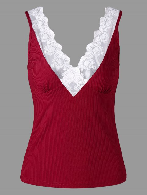 Lace Trim Plunging Neck Tank Top - WINE RED 2XL