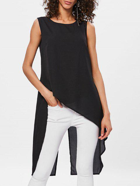 Sleeveless High Low Back Split Top - BLACK XL