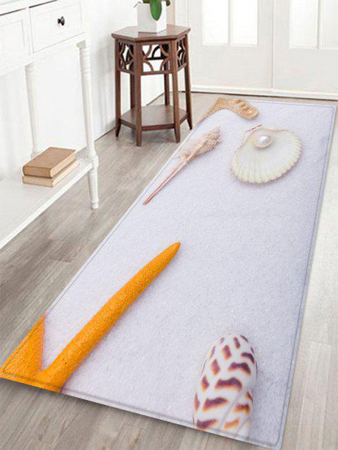 Conch Pearl Pattern Anti-skid Floor Area Rug - WHITE W16 INCH * L47 INCH