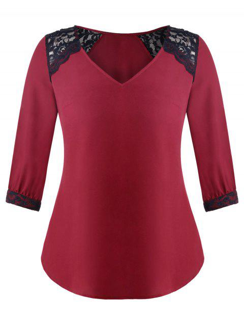 Plus Size Lace Panel V Neck Blouse - RED XL