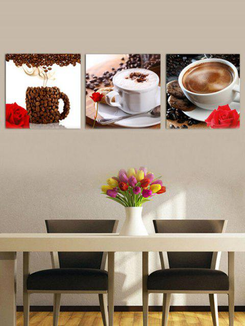 Coffee Printed Unframed Split Wall Art Canvas Paintings - multicolor G 3PC:16*16 INCH( NO FRAME )
