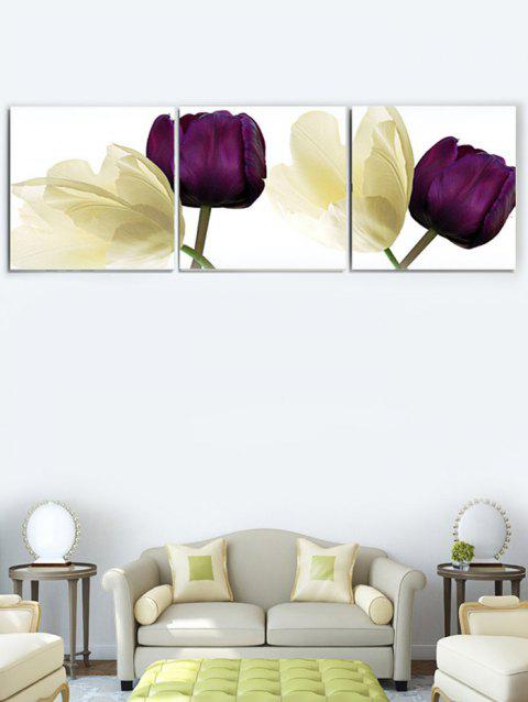 Flowers Printed Wall Art Unframed Canvas Paintings - multicolor 3PC:16*16 INCH( NO FRAME )