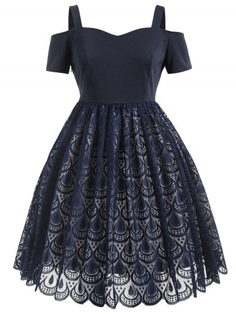A Line Plus Size Lace Cold Shoulder Dress - DEEP BLUE 3X