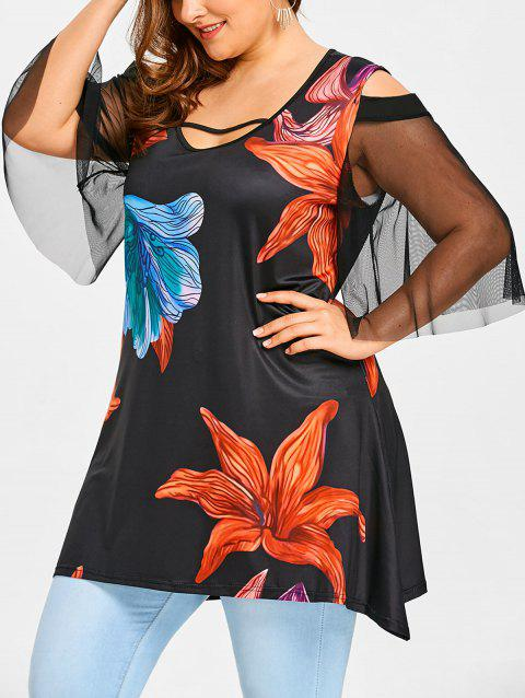Mesh Sleeve Plus Size Flower T-shirt - BLACK 5XL
