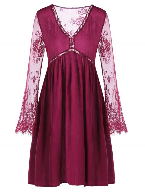 Lace Panel Flare Dress with Sleeves - RED WINE M