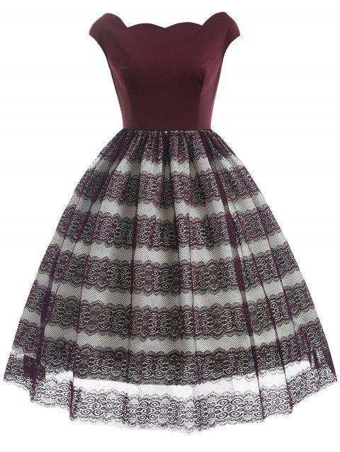 Lace Panel Scalloped Vintage Dress - RED WINE M