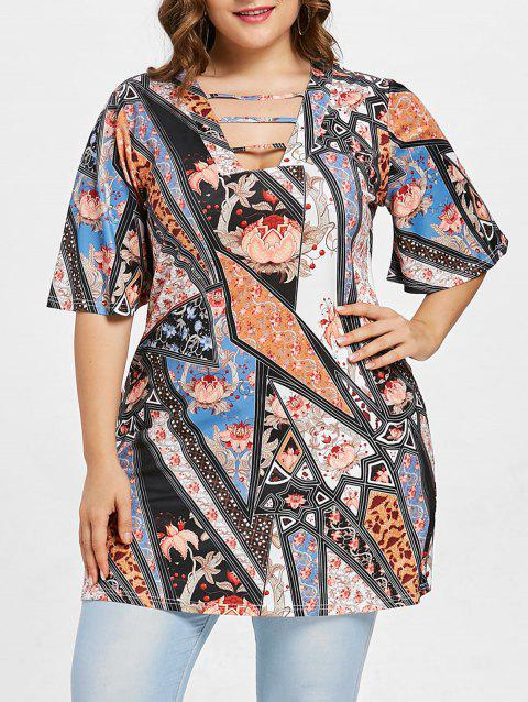 Ethnic Print Half Sleeve Plus Size T-shirt - multicolor A L