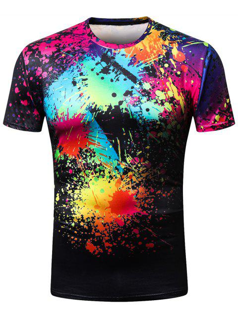 Crew Neck Vivid Oil Paint Printed Tee Shirt - multicolor M