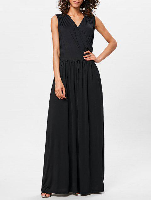 Floor Length V Neck Sleeveless Dress - BLACK XL