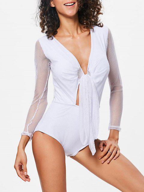 Fishnet Sheer Long Sleeve Swimsuit - WHITE L