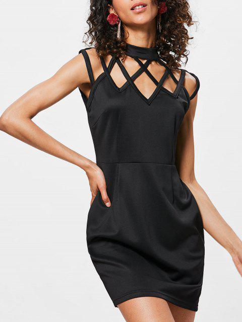 Sleeveless Cut Out Bodycon Dress - BLACK M