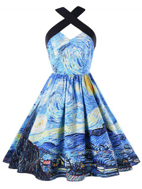 Starry Printed Vintage Party Dress - SEA BLUE L