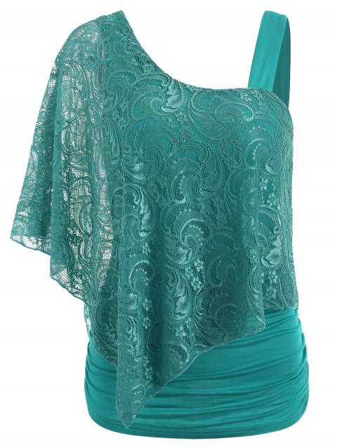 Ruched Side Lace Overlay T-shirt - LIGHT SEA GREEN 2XL